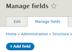 Manage fields tab