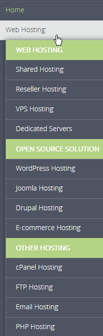 Web hosting category